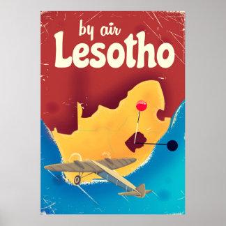 Lesotho Vintage travel flight poster