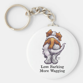 Less Barking, More Wagging Basic Round Button Keychain