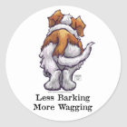 Less Barking, More Wagging Classic Round Sticker