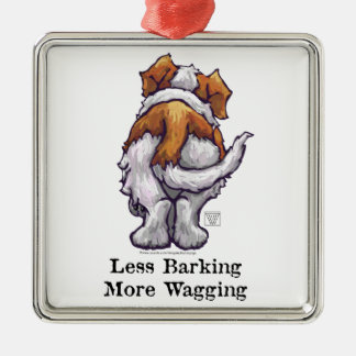 Less Barking, More Wagging Metal Ornament