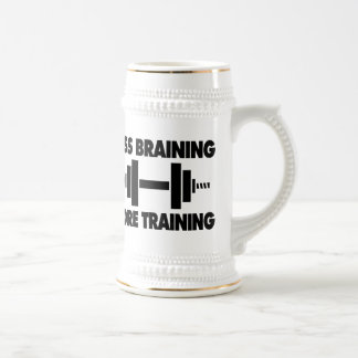 Less Braining More Training Beer Stein