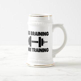 Less Braining More Training 18 Oz Beer Stein