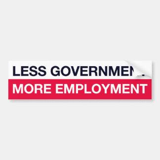 Less Government More Employment Bumper Sticker Car Bumper Sticker