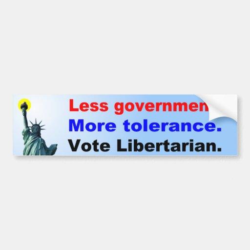 Less Government More Tolerance Car Bumper Sticker