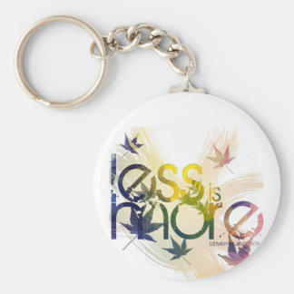 Less is more basic round button keychain