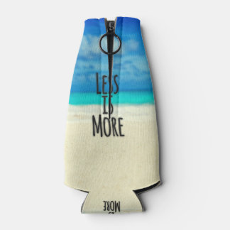 """""""Less is More."""" Typography Abstract Beach Scene Bottle Cooler"""