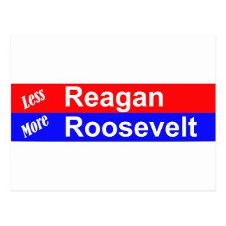 Less Reagan More Roosevelt Horizontal Postcard