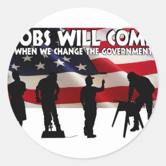 Less Talk More Jobs Classic Round Sticker