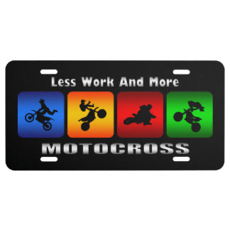 Less Work And More Motocross (Black) License Plate