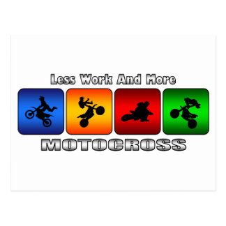 Less Work And More Motocross Postcard
