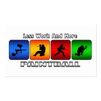Less Work And More Paintball Double-Sided Standard Business Cards (Pack Of 100)