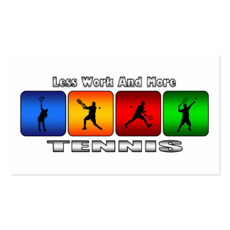 Less Work And More Tennis Male Business Card Templates