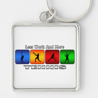 Less Work And More Tennis (Male) Keychain