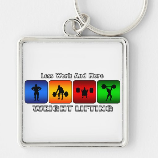 Less Work And More Weight Lifting Silver-Colored Square Keychain