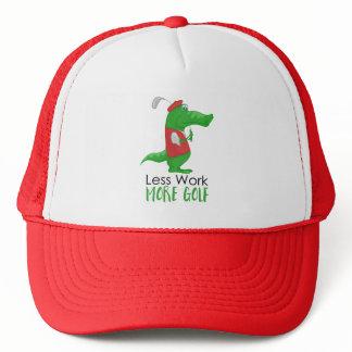 Less Work More Golf Funny Golfing Gator Trucker Hat