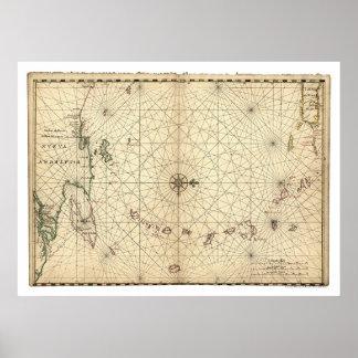 Lesser Antilles Map 1650 Poster