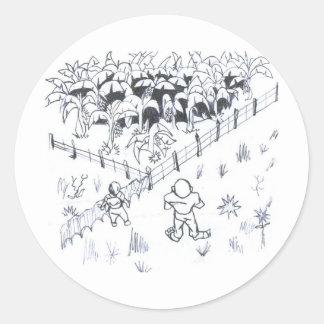 lesser banenal plantation farmer classic round sticker