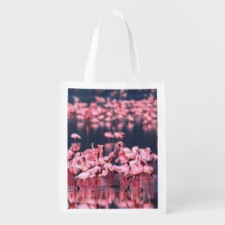 Lesser Flamingos (Phoeniconaias minor), Africa, Reusable Grocery Bag