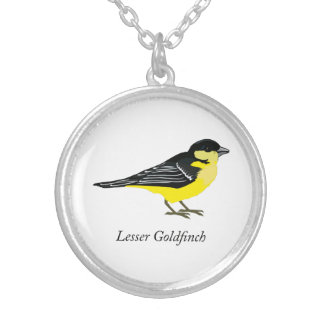 Lesser goldfinch silver plated necklace