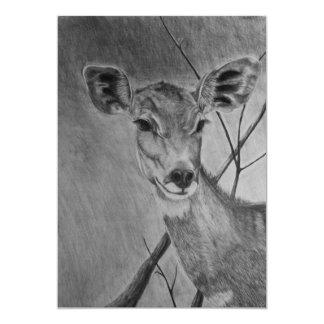 Lesser Kudu doe - Graphite Drawing Card
