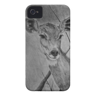 Lesser Kudu doe - Graphite Drawing iPhone 4 Covers