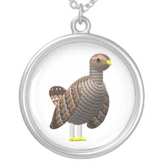 Lesser Prairie Chicken Round Pendant Necklace
