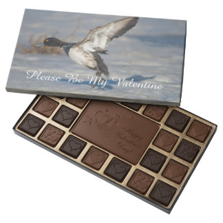 Lesser Scaup Duck taking flight from icy tule lake 45 Piece Box Of Chocolates