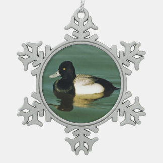 Lesser Scaup Snowflake Pewter Christmas Ornament