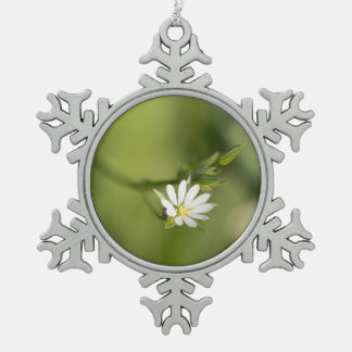Lesser Stitchwort Snowflake Pewter Christmas Ornament
