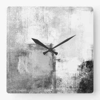 'Lessons' Black and White Abstract Art Clock