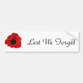 Lest We Forget Bumper Stickers