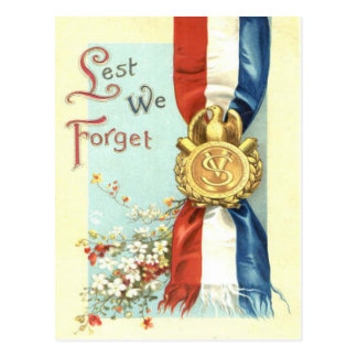 Lest We Forget Medal Memorial Day Flowers Postcard
