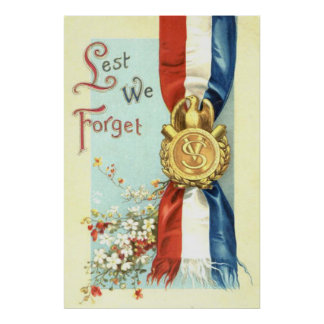Lest We Forget Medal Memorial Day Flowers Poster