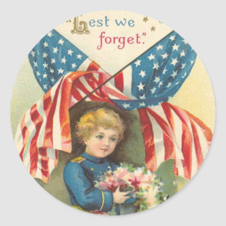 Lest We Forget Memorial Day Classic Round Sticker