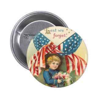 Lest We Forget Memorial Day Pinback Button