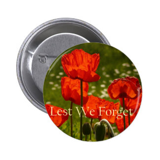 Lest We Forget Poppy Button Badge