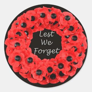 Lest We Forget (Poppy Wreath) Classic Round Sticker