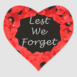 Lest We Forget (Poppy Wreath) Heart Sticker