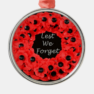 Lest We Forget (Poppy Wreath) Metal Ornament