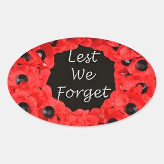 Lest We Forget (Poppy Wreath) Oval Sticker