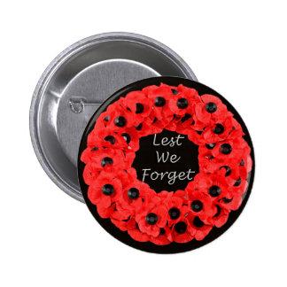 Lest We Forget (Poppy Wreath) Pinback Button