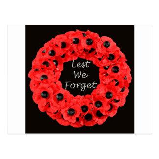 Lest We Forget (Poppy Wreath) Postcard