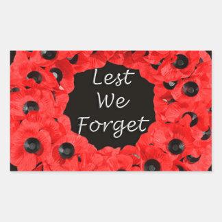 Lest We Forget (Poppy Wreath) Rectangular Sticker