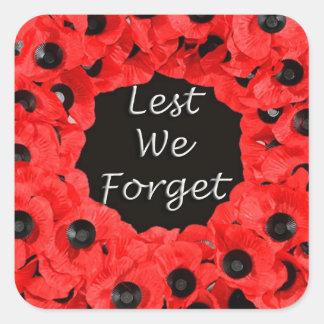 Lest We Forget (Poppy Wreath) Square Sticker