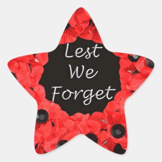 Lest We Forget (Poppy Wreath) Star Sticker