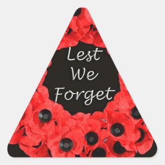 Lest We Forget (Poppy Wreath) Triangle Sticker