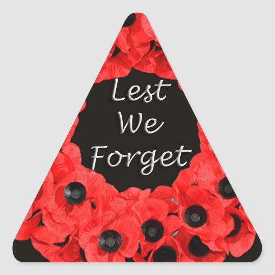 Lest We Forget (Poppy Wreath) Triangle Sticker