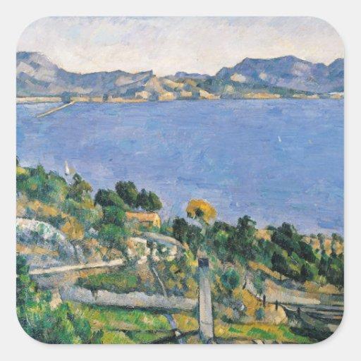 L'Estaque, vista de la bahía de Marsella Pegatina Cuadrada