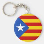 """L'Estelada Blava"" Catalan Independence Flag Basic Round Button Keychain"