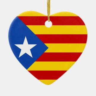 """""""L'Estelada Blava"""" Catalan Independence Flag Ceramic Ornament"""
